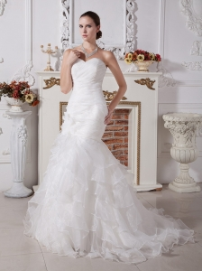Custom Made Elegant Mermaid Wedding Dress With Sweetheart Neckline Organza