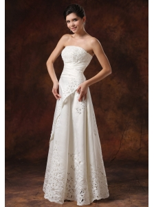 Custom Made Wedding Dress With Lace Over Skirt Strapless