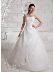 Elegant Appliques Court Train Wedding Dress For Custom Made
