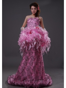 Exquisite Strapless Pink Column / Sheath Sequins Brush / Sweep Prom Dress