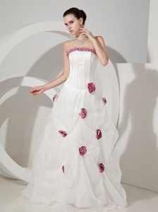 Hand Made Flowers Decorate Bodice Organza and Taffeta Strapless Floor-length 2013 Wedding Dress