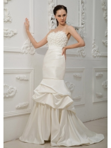 Hand Made Flowers Decorate Bust Mermaid Taffeta Sweetheart Neckline Brush Train 2013 Wedding Dress