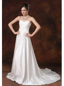 Lace and Beading A-Line Sweetheart Taffeta Garden / Outdoor Wedding Dress Court Train