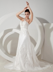 Lace Decorate Bodice Court Train Strapless Organza and Satin 2013 Wedding Dress