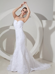Lace Decorate Bodice Mermaid Beading Decorate Bust Brush Train Organza and Satin 2013 Wedding Dress