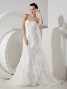 Lace Decorate Bodice Ruffles Brush Train Organza Strapless 2013 Wedding Dress