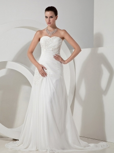 Lace Sweetheart Neckline Chiffon Brush Train A-line 2013 Wedding Dress
