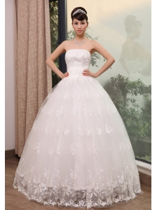 Lace With Beading Decorate Bodice Strapless Floor-length Wedding Dress For Exclusive Style