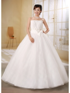 Low Price Strapless Beaded Decorate Bust and Sash 2013 Wedding Gowns