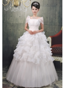 Luxurious Square Short Sleeves Ruffled Layeres 2013 Wedding Gowns