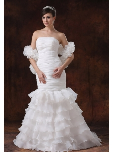 Mermaid Organza White Ruch Wedding Dress With Ruffles Layers