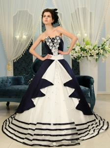 Navy Blue And White Ball Gown Strapless Court Train Wedding Dress With Appliques For Custom Made