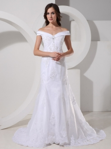 Off The Shoulder Lace For Weding Dress With Brush Train