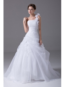 One Shoulder Brush / Sweep Organza Handle-Made Flower 2012 Wedding Dress A-Line / Princess