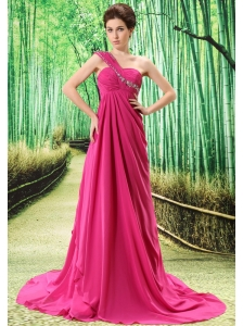One Shoulder Prom Dress Appliques and Ruch In Graduation
