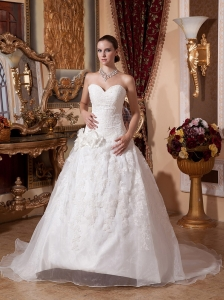 Princess Wedding Dress Sweetheart Neckline With Embroidery and Flowers Decorate Organza
