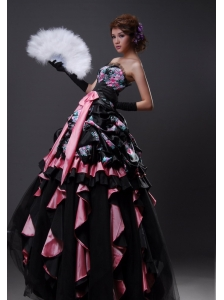 Printing Taffeta and Tulle Multi-color A-line Floor-length Prom / Evening Dress For 2013