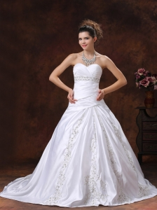 Ruched Bodice Embroidery and  Beading For Wedding Dress With Sweetheart