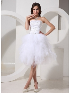 Ruffles Strapless A-line Beaded Knee-length Wedding Dress 2013 New Styles Custom Made