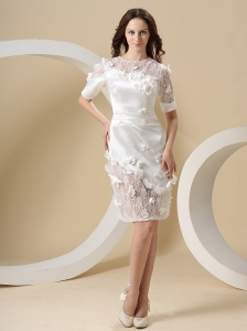 Short Sleeves and Appliques Lace Mini-length For Wedding Dress