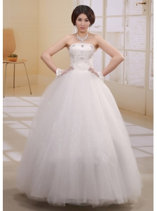 Simple Ball Gown Beaded Decorate Bust 2013 Wedding Dress With Bow Tulle