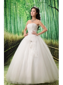 Simple Ball Gown Wedding Dress With Sequins For Custom Made