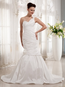 Simple One Shoulder Mermaid Wedding Gowns With Ruch