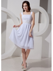 Square Neck Appliques Knee-length Chiffon Customize Prom Gowns