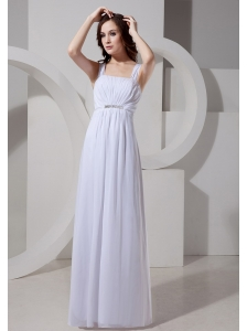Square Neck Empire Chiffon Beaded 2013 Simple Custom Made Wedding Dress