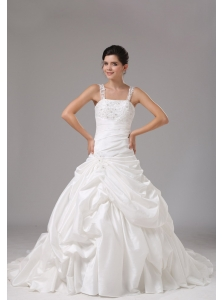 Straps A-line Wedding Dress With Embroidery Decorate For Wedding Party