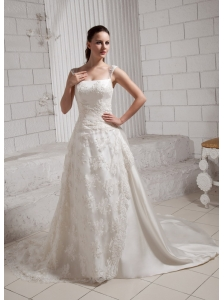 Straps Square Lace Wedding Dress With Chapel Train Satin For Customize