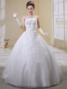 Stylish Ball Gown Strapless Bow and Embroidery Decorate 2013 Wedding Dress With Organza