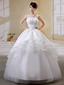 Sweet Ruffled Layeres Applqiues Decoate Bust Wedding Gowns With Organza