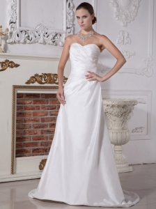 White Sweetheart Neckline Wedding Dress With Brush Train