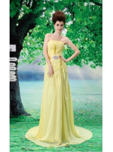 Yellow Empire Beading Strapless Court Train Prom Dress Chiffon