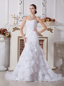 2013 Mermaid Ruffled Layeres Wedding Dress With Appliques