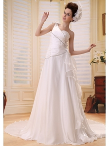 A-line One Shoulder Simple 2013 New Wedding Dress With Hand Made Flowers and Ruch