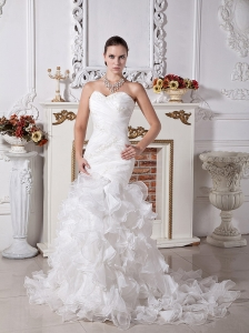 Appliques and Ruffles Decorate Bodice Brush Train Mermaid Sweetheart Neckkline 2013 Wedding Dress