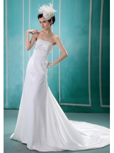 Appliques Decorate Bust 2013 Unique Wedding Dress With Strapless Chiffon