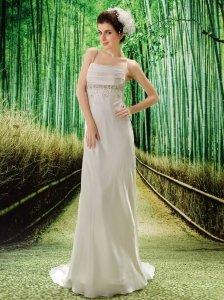 Appliques Decorate Waist Spaghetti Straps V-neck  Modern Hottest Wedding Gowns For Custom Made
