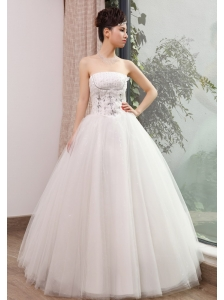 Beaded Decorate Bodice Strapless Tulle Floor-length 2013 Wedding Dress