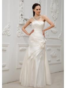 Beaded Decorate Bust and One Shoulder Bowknots Taffeta Floor-length Wedding Dress For Modest Style