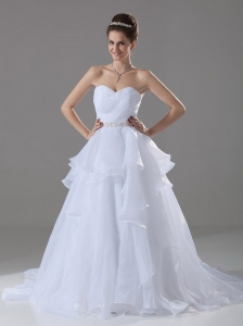 Beaded Decorate Waist Wedding Dress For 2013 Organza Sweetheart A-Line / Princess