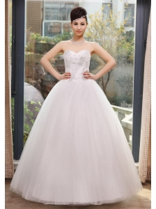 Beading and Ruch Decorate Bodice Sweetheart Neckline Tulle Floor-length 2013 Wedding Dress