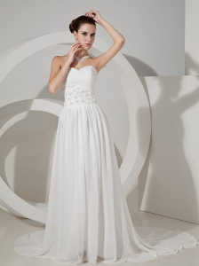 Beading and Sequins Decorate Waist Sweetheart Neckline Chiffon Brush Train Wedding Dress For 2013