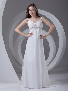 Beading Chiffon Romantic Court Train Straps Empire Wedding Dress