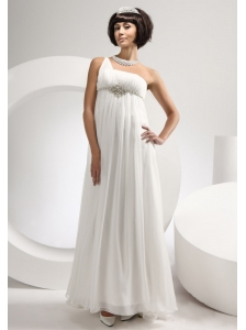 Beading One Shoulder Chiffon Empire Beach / Destination Floor-length Wedding Dress