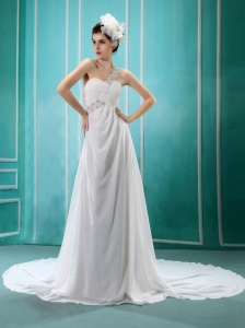 Beautiful Appliques Decorate One Shoulder Wedding  Dress With Chapel Train