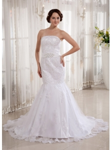Brand New Mermaid Wedding Dress Court Train Embroidery Beading