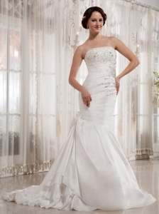 Custom Made Mermaid 2013 Wedding Dress Court Train With Appliques Decorate Bust Ruch